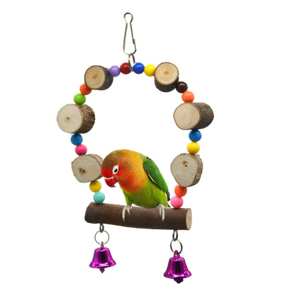 Small pet supplies parrot toy suspension bridge swing rings wooden beads beads toys