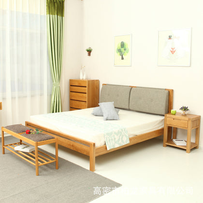 Simple modern solid wood soft bag straight bed 1.8 meters double bed oak comfortable solid wood bed small apartment full house custom
