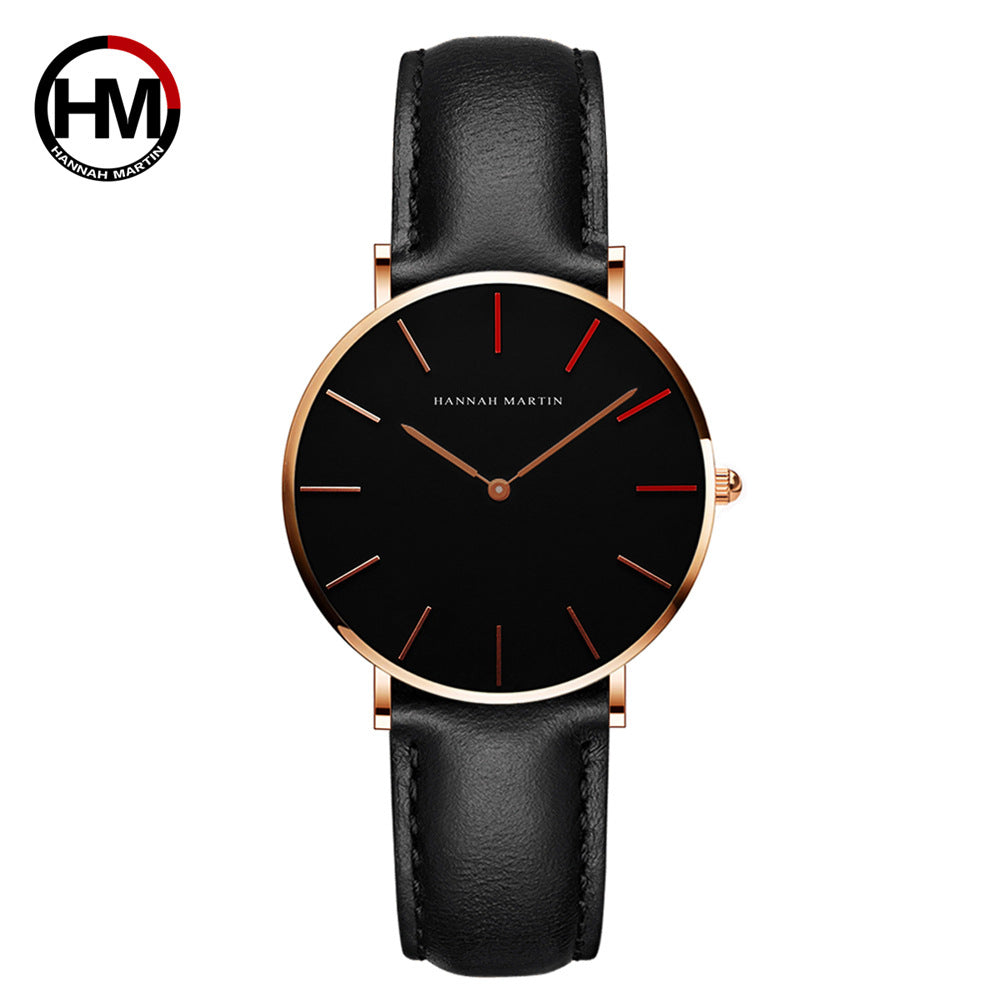 36mm Japanese movement ladies waterproof creative belt watch trendy fashion student appearance patent quartz watch