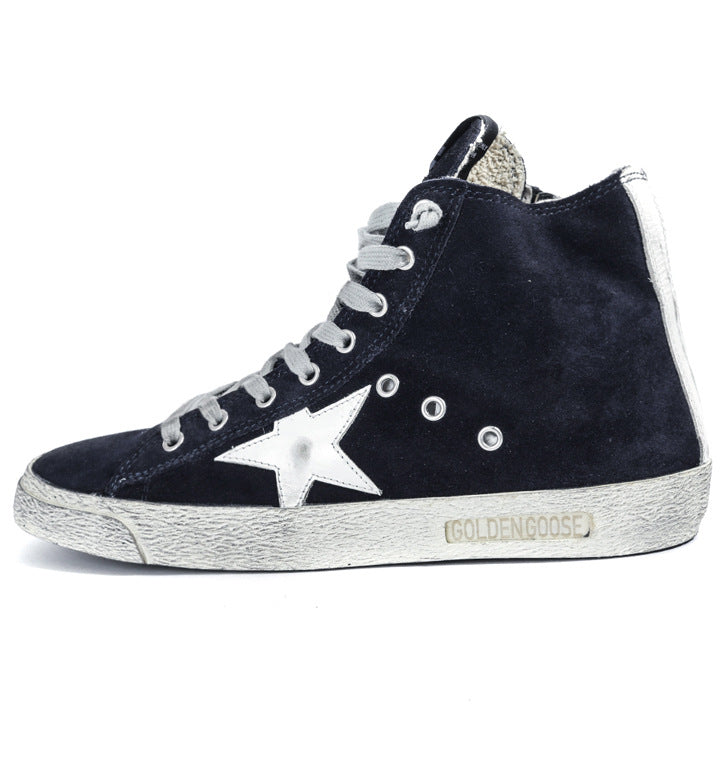 17 autumn and winter first layer of leather stars high-top sneakers casual men and women shoes GGDB Korean small dirty shoes