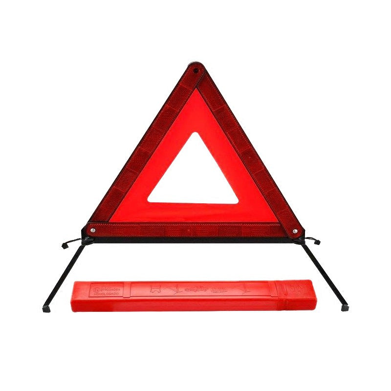 Car tripod warning sign failure danger stop sign car with small red box reflective tripod annual inspection mark