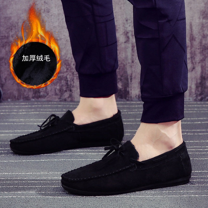 2019 new men's winter warm beanie shoes men plus velvet Korean fringed suede foot pedal driving men's shoes