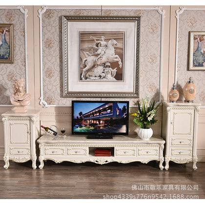 European TV cabinet marble solid wood storage floor cabinet French low cabinet living room audiovisual cabinet film cabinet wholesale