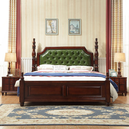 American country solid wood bed 1.8m double bed 1.5 m oak wedding bed soft soft by Roman column a generation