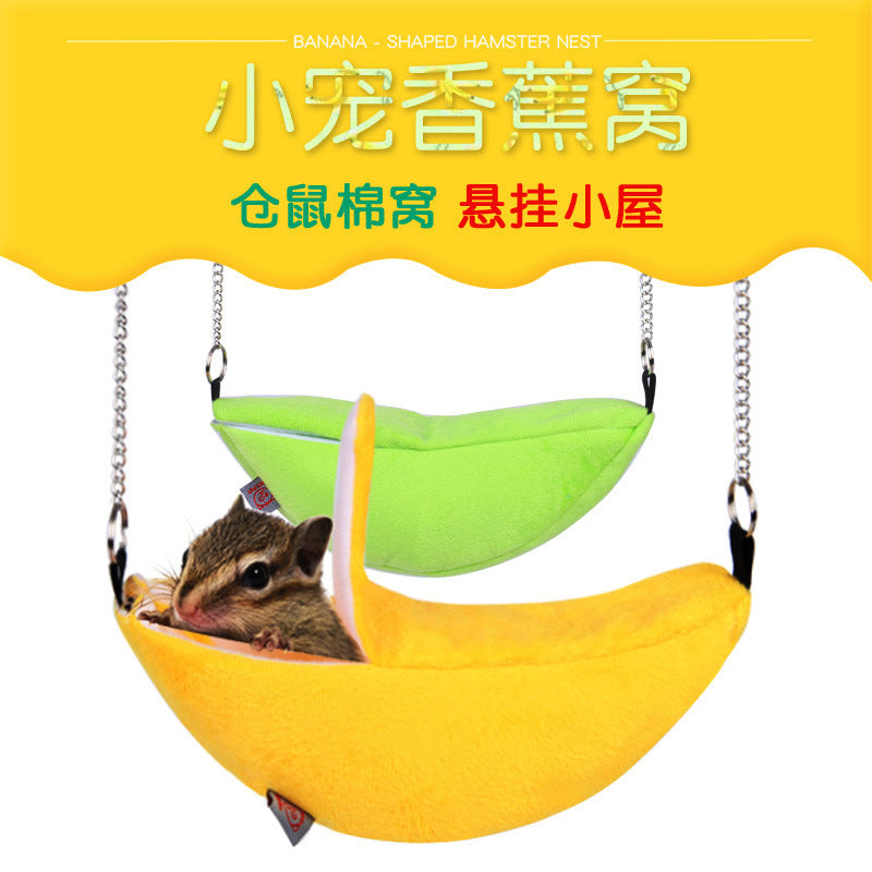 Hamster Banana Nest Winter Warm Hanging Hammock Hanging Moon Boat Shaped Hut Small Pet Cotton Nest