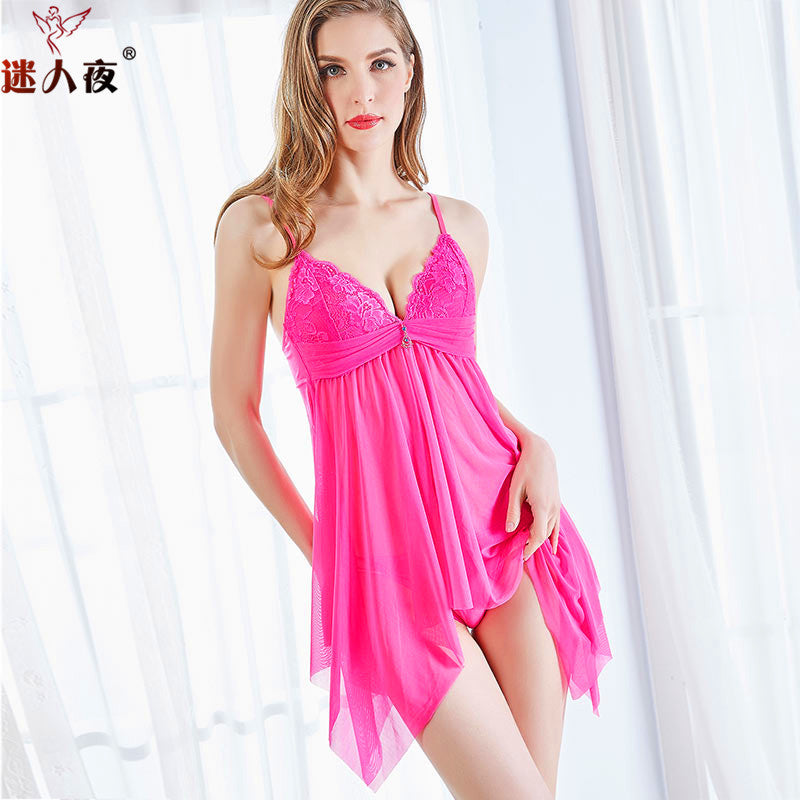 Gathering cups erotic lingerie Europe and the United States fun pajamas women's foreign trade sexy pajamas perspective mesh gauze skirt