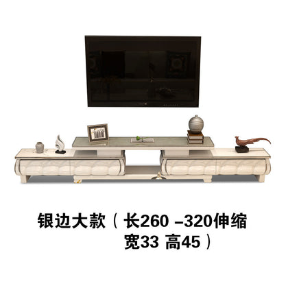 Tempered glass large silver TV cabinet