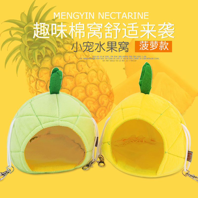 Small pet cotton nest cartoon fruit nest guinea pig hedgehog winter warm cottage squirrel golden bear can hang sleeping room