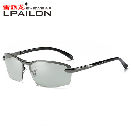 Male driver driving color-changing glasses when square men driving polarized sun sunglasses 9903 color-changing glasses