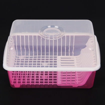 0023 thick plastic extra large dish cabinet kitchen drain bowl rack with lid