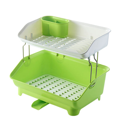 Yunlong plastic thickened with sink double-drain drain bowl rack kitchen tableware tableware drying storage shelf