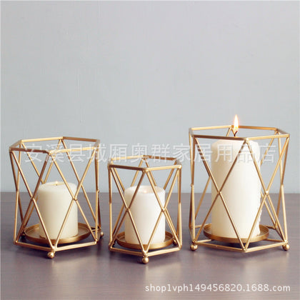 Nordic Simple Light Luxury Gold Geometric Iron Christmas Candlestick Candle Light Home Model Room Decoration Decoration