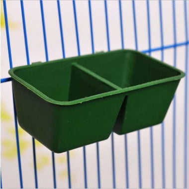 Factory direct BD bird with two food troughs Food box parrot food tank cylinder two grid double bowl