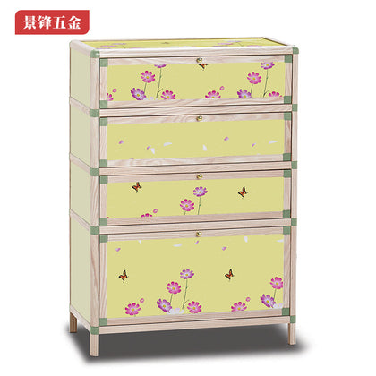 Illuminated Wood Grain Shoe Cabinet Multifunctional Modern Chinese Sundry Cabinet Crystal Wood Grain Shoe Cabinet