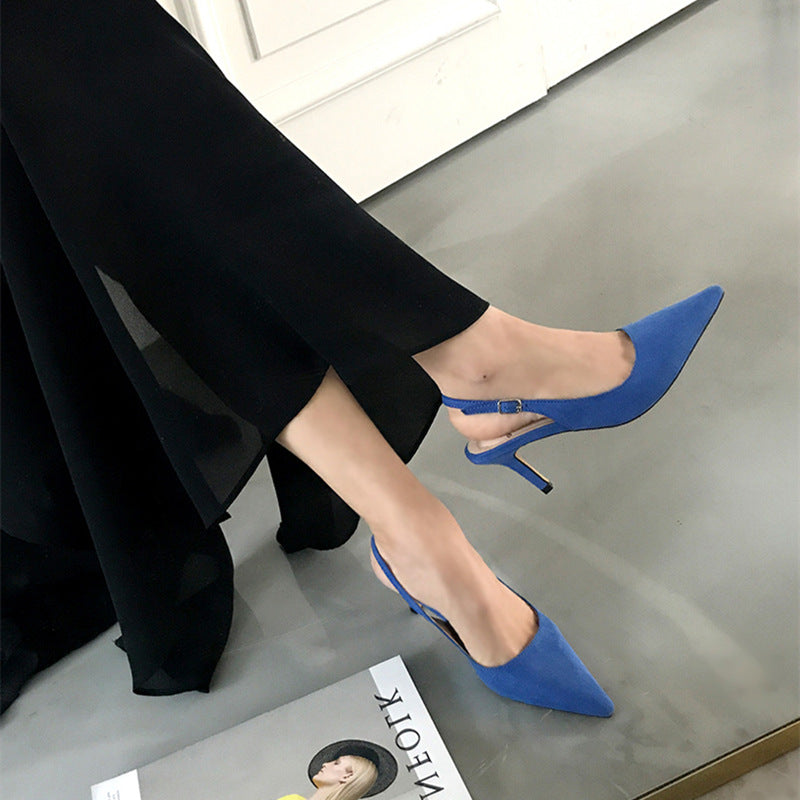 2020 summer new women's sandals Baotou fashion suede stiletto with pointed toe Korean sexy nightclub heels wholesale