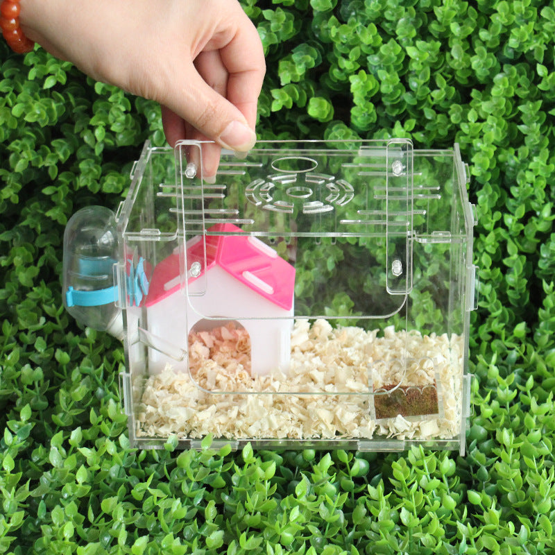 Hamster House Acrylic Hamster Cage Hamster Cage Single-layer Transparent Villa Hamster Supplies Toy Cage