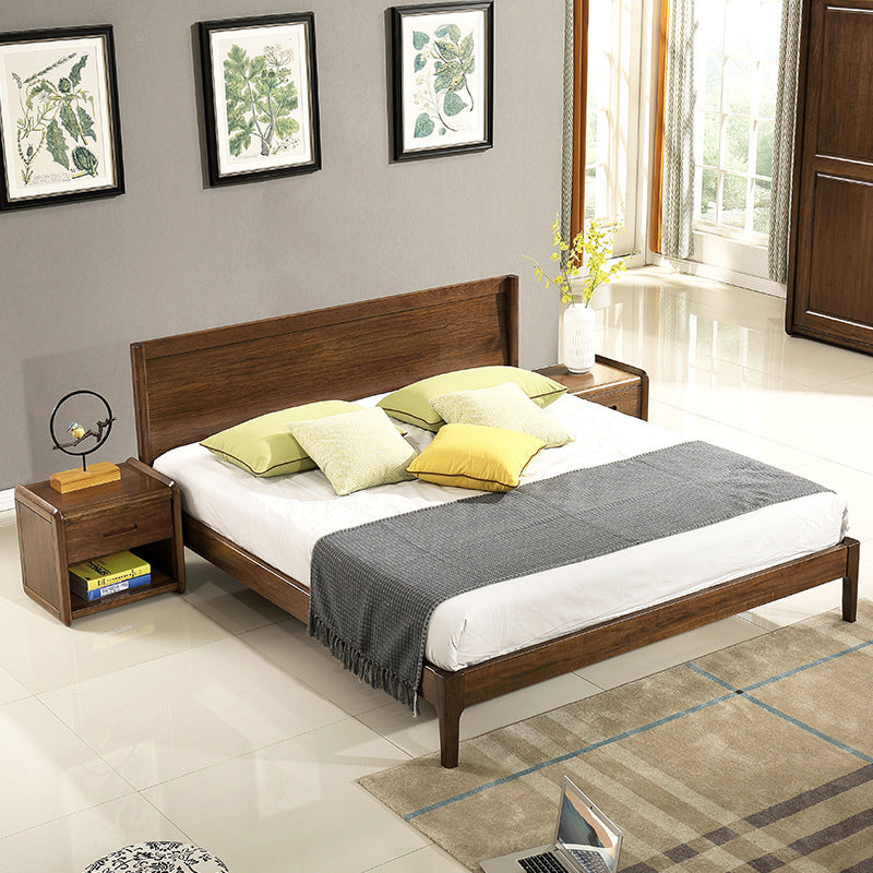 HUIQIAO Nordic Walnut Wood Bed 1.8 Meter Double Bed 1.5 Log Bed Simple Green Bedroom Furniture