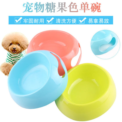 Pet dog bowl single bowl candy color small dog dog bowl factory direct pet supplies