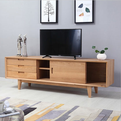 Factory direct Nordic style living room audio-visual cabinet simple small apartment furniture white oak floor cabinet all solid wood TV cabinet