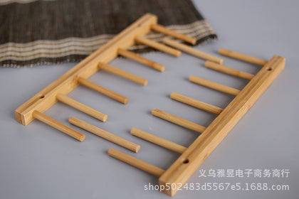 Household kitchen rack bamboo wood tray rack six grid drain tray rack removable storage rack bowl rack