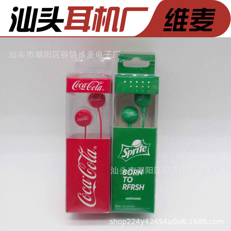 Shantou Environmental Headphone Factory Processing Custom Sprite Coca-Cola Drinks Promotional Gifts Europe and America Headphones