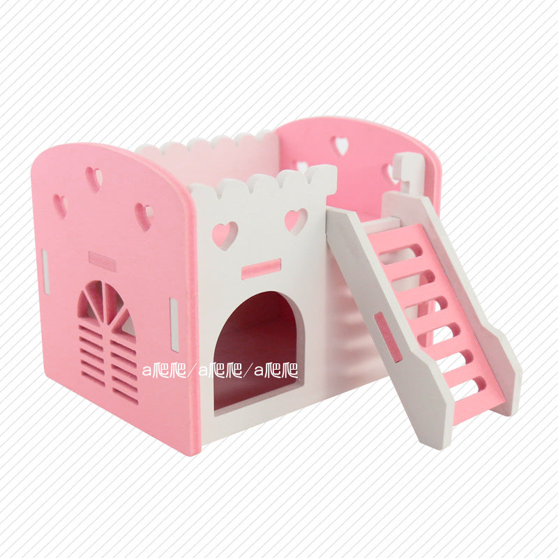 Hamster sleeping nest golden bear guinea pig Dutch pig wooden house mini hedgehog castle nest hamster cage supplies toys