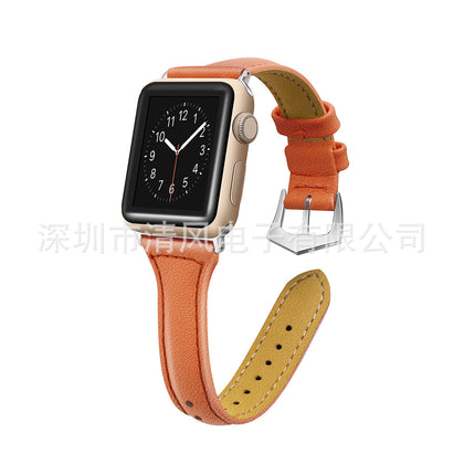 Suitable for Apple Apple watch leather strap T-shaped watch strap classic buckle leather strap