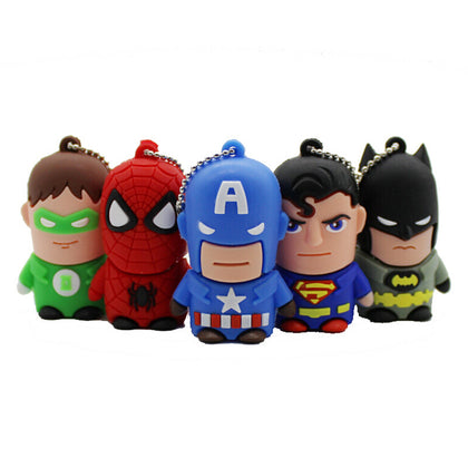 Super hero cartoon u disk silicone u disk creative gift keychain u disk doll u disk batman