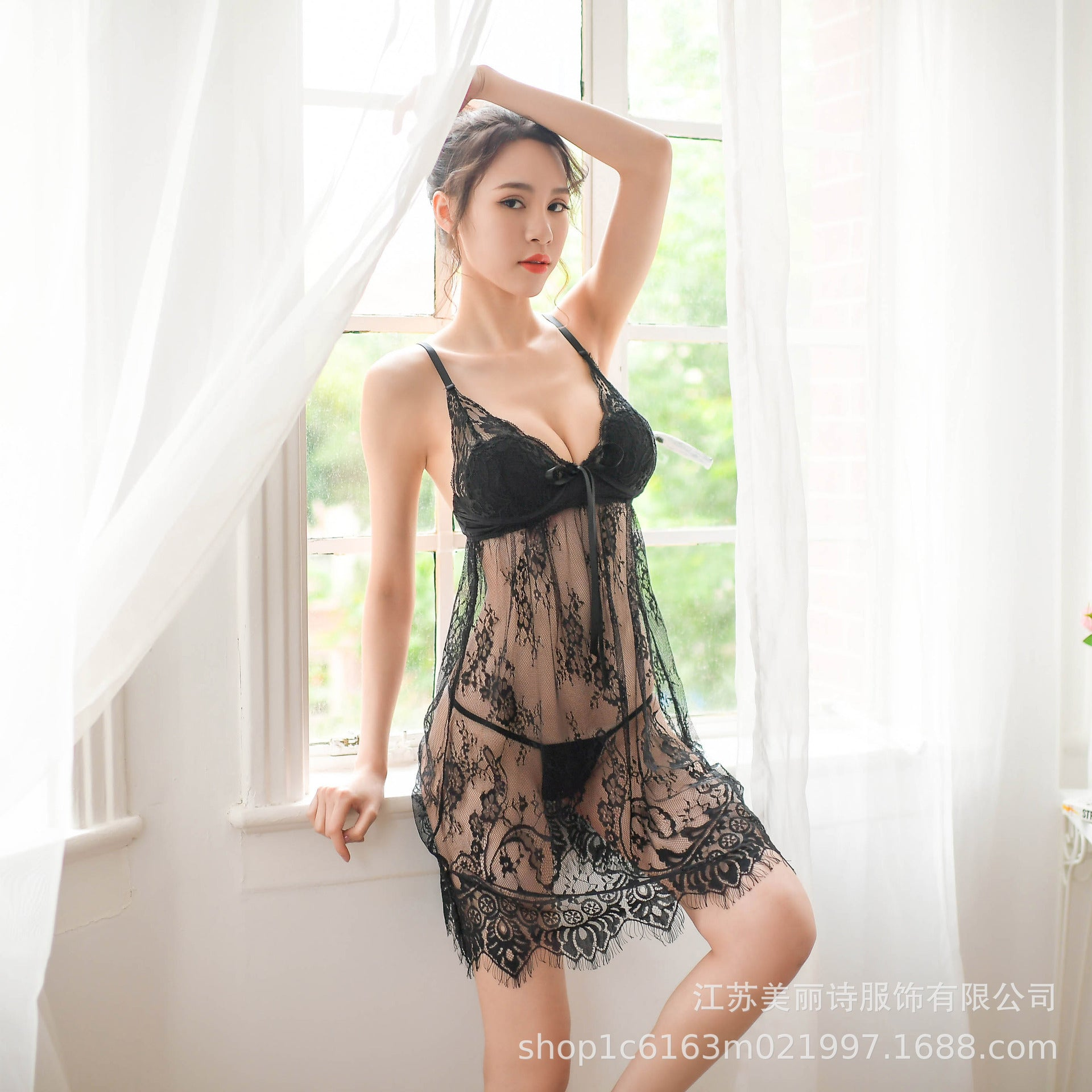 Mesh transparent lace black eyelash lace sexy lingerie long paragraph female nightdress perspective temptation pajamas 8217