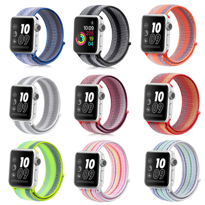 Applicable Apple Watch Color Striped Nylon Strap Loopback 1234th Generation iWatch 4th Generation Sports Strap