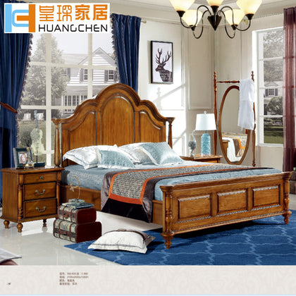 Huangfu home simple American solid wood bed American bed double bedroom suite furniture environmental protection Foshan factory wholesale