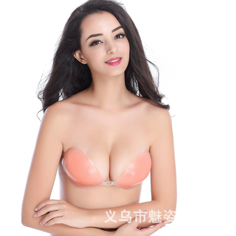 Factory direct silicone bra invisible bra small chest gathered wedding dress on the thickening non-slip underwear chest paste nipple