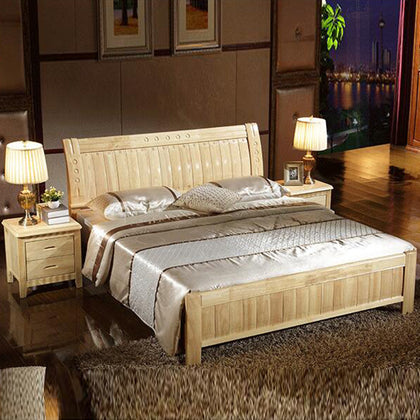 Factory wholesale specials solid wood bed Bedroom furniture wooden bed 1.8 m 1.5 hotel solid wood double bed custom