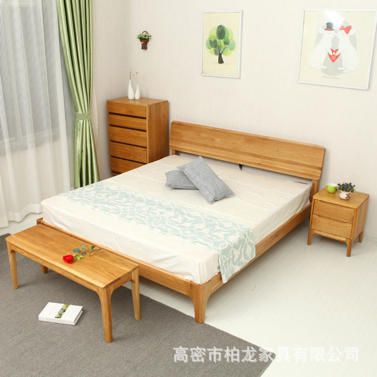 Simple Nordic Wood Bed White Oak Peninsula Bed Bailong Furniture Multifunctional Bedroom Furniture Double Bed