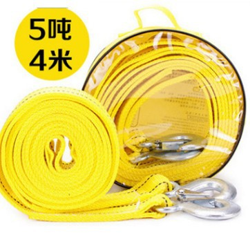 Strong car trailer rope traction rope fluorescent reflection 4 meters 5 tons double-layer thickened / off-road vehicle trailer belt