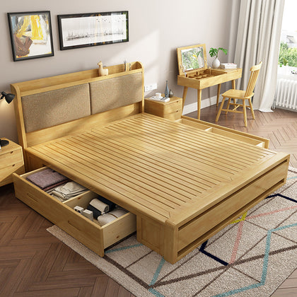 Nordic solid wood bed 1.8 m double bed 1.5 single simple Japanese soft base high pressure box drawer storage bed