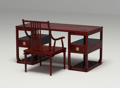 African Small Leaf Rosewood New Chinese Desk Combination