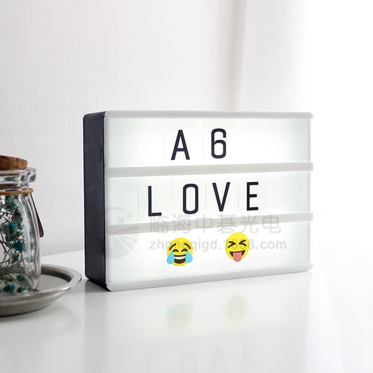 Source manufacturers A6 letter card light box 90 pieces of letters with data line light Nordic explosion LED light box