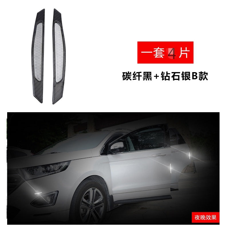 Car door anti-collision strip door side mirror anti-scratch carbon fiber reflective open safety warning decorative stickers
