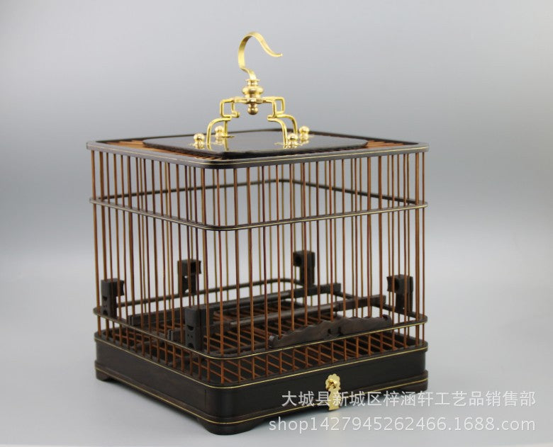 Redwood ebony purple sandalwood square double bottom drawer birdcage wood crafts collection to send the elderly ancient furniture ornaments