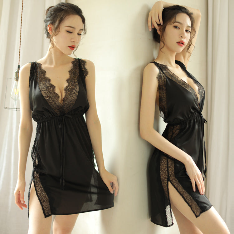 Europe and the United States foreign trade sexy underwear sexy pajamas deep V lace backless straps nightdress set wholesale one generation