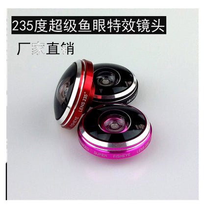Mobile phone self-timer special effects lens 235° wide-angle acrylic mobile phone external universal fisheye lens factory direct sales