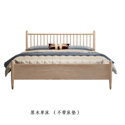 Nordic Japanese style simple modern ash storage bed solid wood bed 1.8 m 1.5 m new Chinese canopy bed