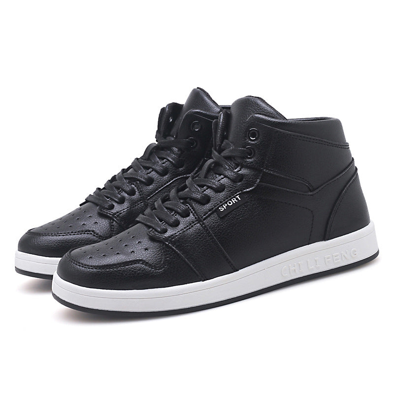 2019 autumn and winter high to help new microfiber new casual men's shoes Korean version of the tide men's shoes Japanese men's hair