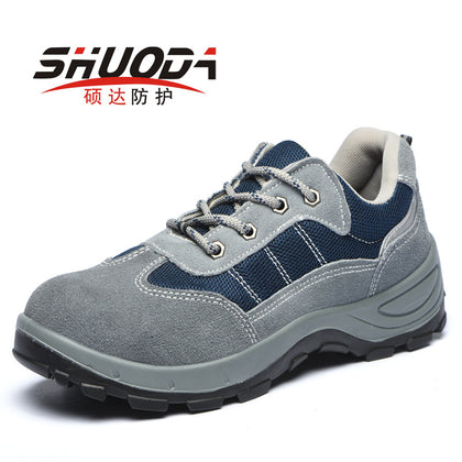 Labor insurance shoes, leather, male, anti-smashing, anti-acid, anti-slip, waterproof, safety work shoes, labor insurance