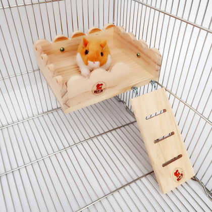 Hamster solid wood fence ladder platform tassel bear hedgehog flower hamster hamster platform springboard jump platform ladder two