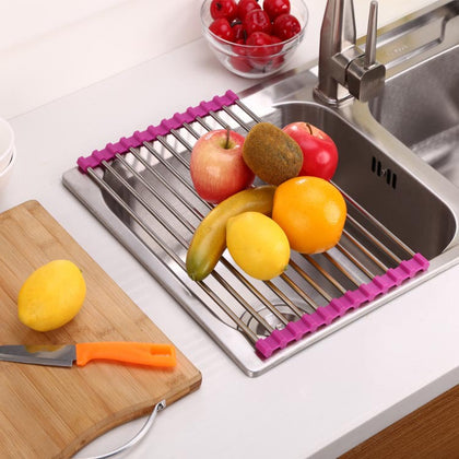 Drain rack PVC stainless steel fruit and vegetable drain rack kitchen sink rack large multifunctional kitchen tools