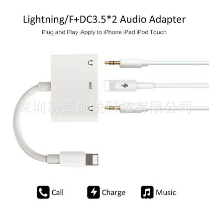 Apple audio adapter cable three-in-one for Lightning to dual 3.5 headset Apple audio adapter