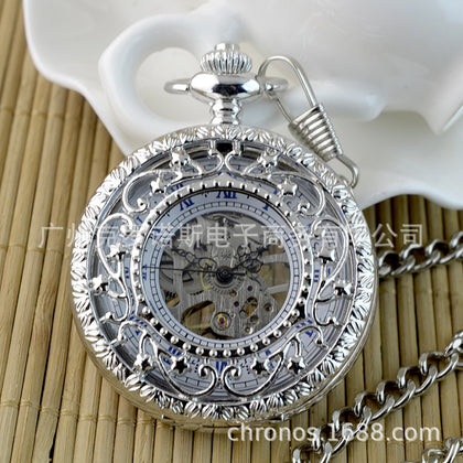 Foreign trade fashion silver Roman word hollow flower rattan retro mechanical pocket watch wholesale semi-automatic pocket watch factory direct sales