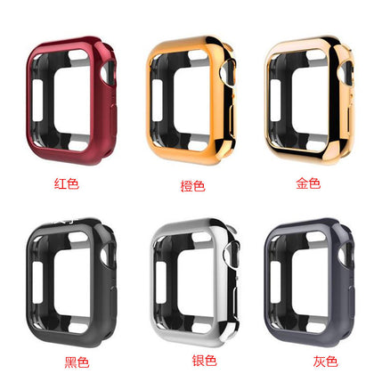 Suitable for Apple Watch 4th generation plating shell square hole iWatch silicone soft shell protective cover iwatch 5th generation plating shell